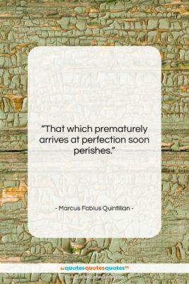 "Marcus Fabius Quintilian quote: ""That which prematurely arrives at perfection soon…""- at QuotesQuotesQuotes.com"