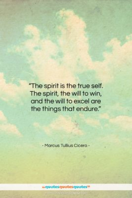 "Marcus Tullius Cicero quote: ""The spirit is the true self. The…""- at QuotesQuotesQuotes.com"