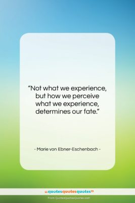 "Marie von Ebner-Eschenbach quote: ""Not what we experience, but how we…""- at QuotesQuotesQuotes.com"