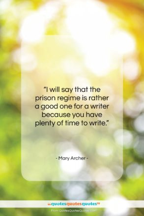 """Mary Archer quote: """"I will say that the prison regime…""""- at QuotesQuotesQuotes.com"""