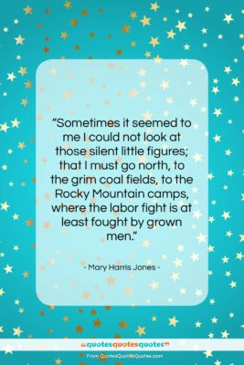 """Mary Harris Jones quote: """"Sometimes it seemed to me I could…""""- at QuotesQuotesQuotes.com"""
