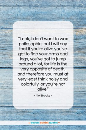 """Mel Brooks quote: """"Look, I don't want to wax philosophic,…""""- at QuotesQuotesQuotes.com"""