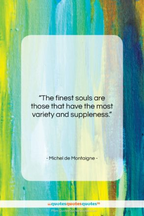 """Michel de Montaigne quote: """"The finest souls are those that have…""""- at QuotesQuotesQuotes.com"""