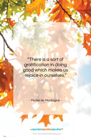 """Michel de Montaigne quote: """"There is a sort of gratification in…""""- at QuotesQuotesQuotes.com"""
