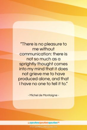 """Michel de Montaigne quote: """"There is no pleasure to me without…""""- at QuotesQuotesQuotes.com"""