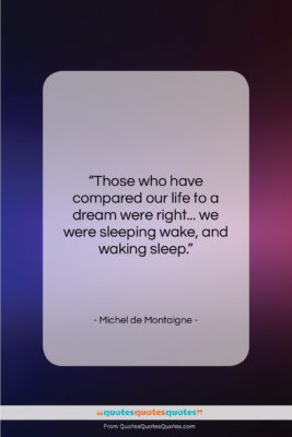 """Michel de Montaigne quote: """"Those who have compared our life to…""""- at QuotesQuotesQuotes.com"""