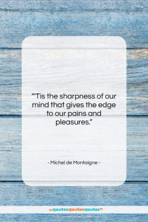 """Michel de Montaigne quote: """"'Tis the sharpness of our mind that…""""- at QuotesQuotesQuotes.com"""