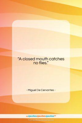 "Miguel De Cervantes quote: ""A closed mouth catches no flies….""- at QuotesQuotesQuotes.com"