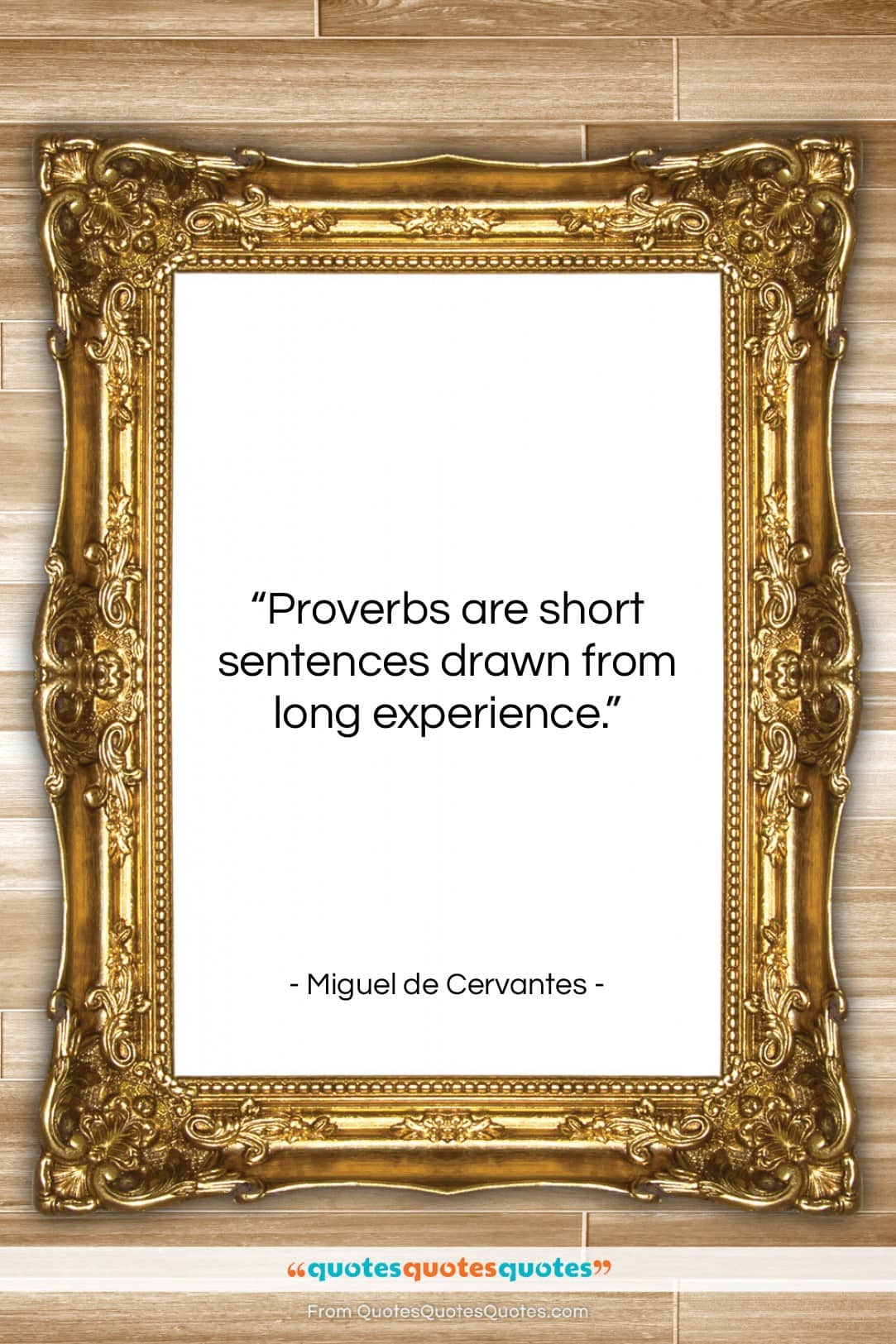 "Miguel de Cervantes quote: ""Proverbs are short sentences drawn from long…""- at QuotesQuotesQuotes.com"