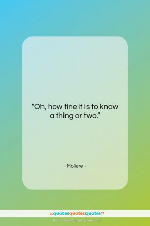 """Moliere quote: """"Oh, how fine it is to know…""""- at QuotesQuotesQuotes.com"""