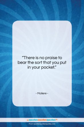 """Moliere quote: """"There is no praise to bear the…""""- at QuotesQuotesQuotes.com"""