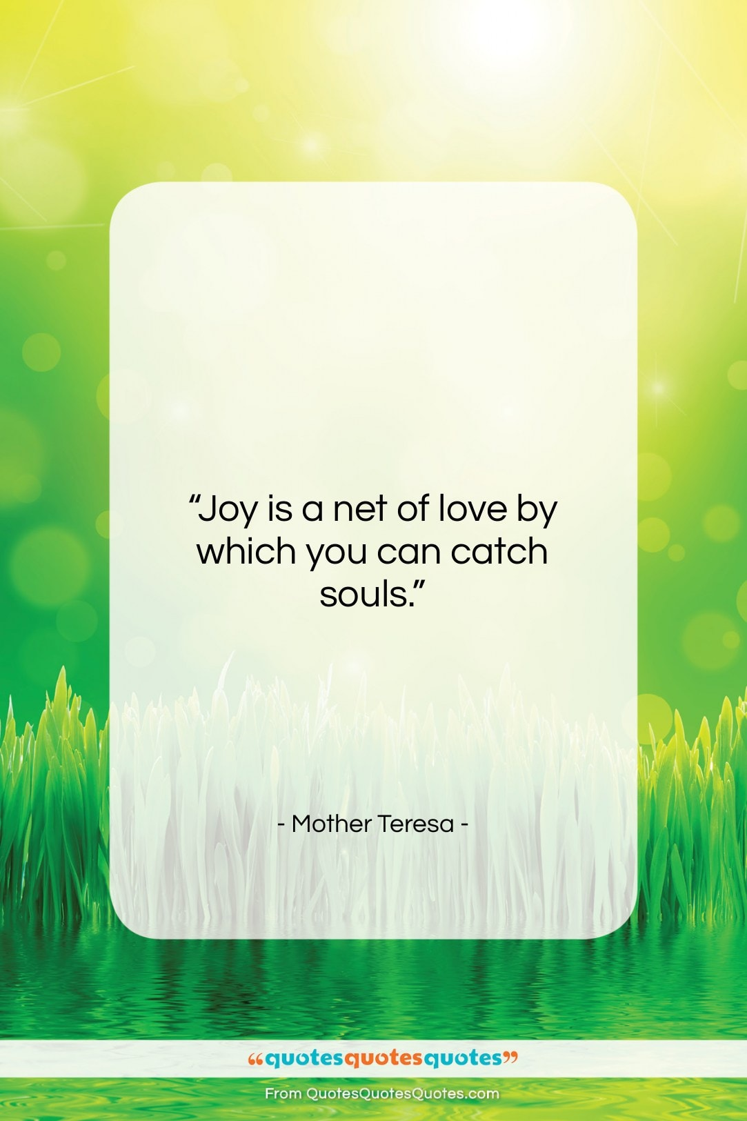 """Mother Teresa quote: """"Joy is a net of love by…""""- at QuotesQuotesQuotes.com"""