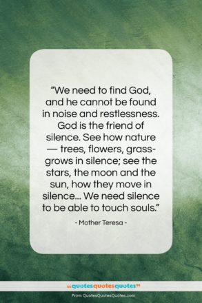"""Mother Teresa quote: """"We need to find God, and he…""""- at QuotesQuotesQuotes.com"""