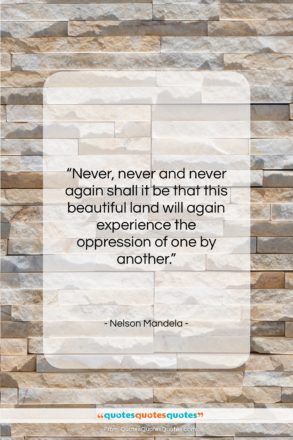 """Nelson Mandela quote: """"Never, never and never again shall it…""""- at QuotesQuotesQuotes.com"""