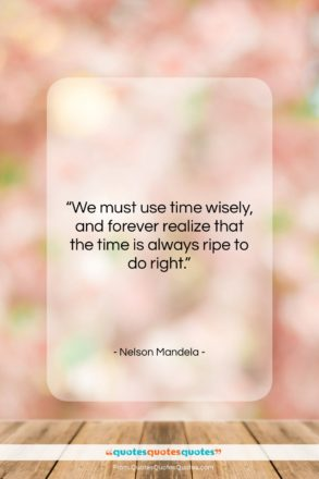 """Nelson Mandela quote: """"We must use time wisely, and forever…""""- at QuotesQuotesQuotes.com"""