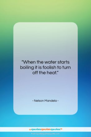 """Nelson Mandela quote: """"When the water starts boiling it is…""""- at QuotesQuotesQuotes.com"""