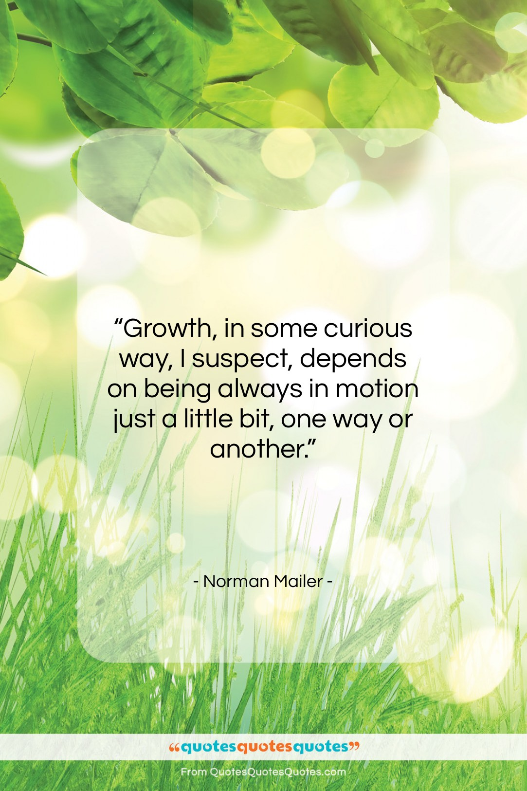 """Norman Mailer quote: """"Growth, in some curious way, I suspect,…""""- at QuotesQuotesQuotes.com"""