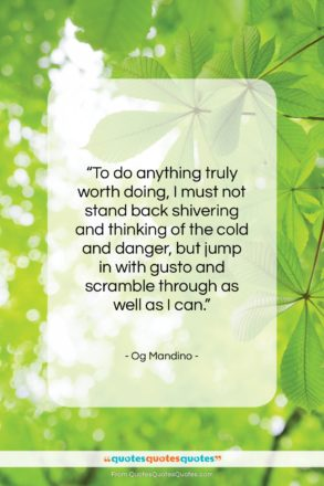 """Og Mandino quote: """"To do anything truly worth doing, I…""""- at QuotesQuotesQuotes.com"""