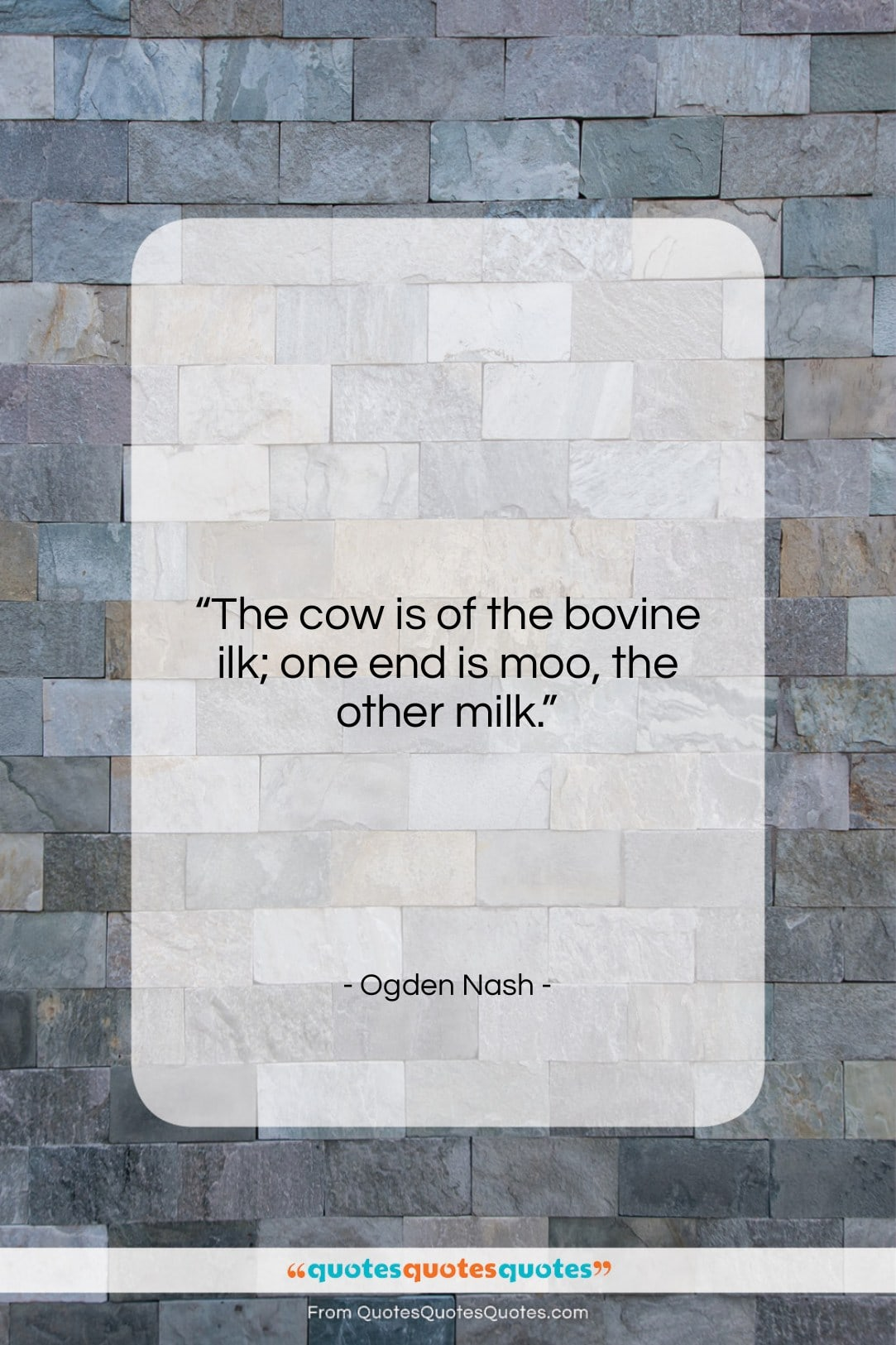 """Ogden Nash quote: """"The cow is of the bovine ilk;…""""- at QuotesQuotesQuotes.com"""