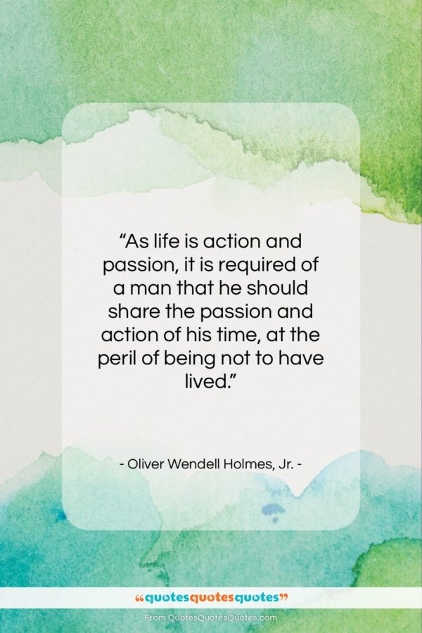 """Oliver Wendell Holmes, Jr. quote: """"As life is action and passion, it…""""- at QuotesQuotesQuotes.com"""
