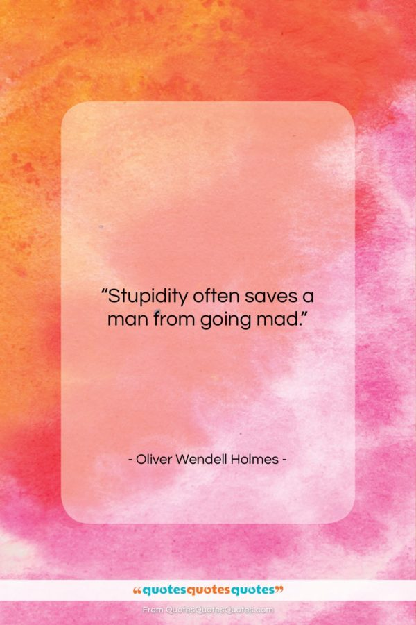 "Oliver Wendell Holmes quote: ""Stupidity often saves a man from going…""- at QuotesQuotesQuotes.com"