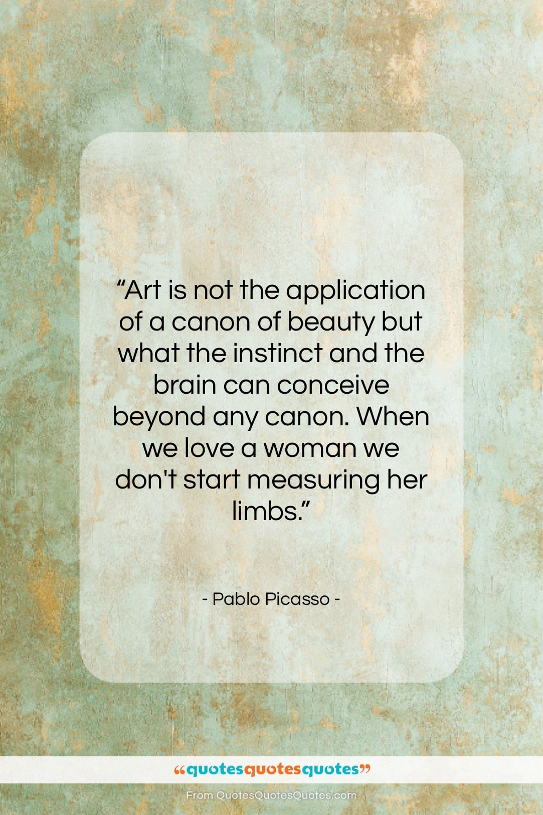 """Pablo Picasso quote: """"Art is not the application of a…""""- at QuotesQuotesQuotes.com"""