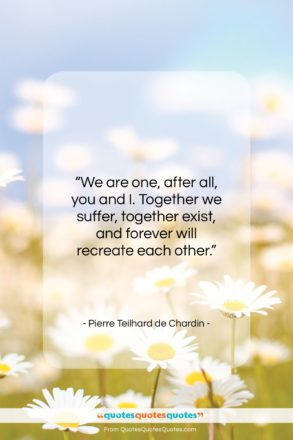 """Pierre Teilhard de Chardin quote: """"We are one, after all, you and…""""- at QuotesQuotesQuotes.com"""