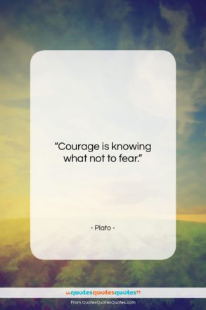 """Plato quote: """"Courage is knowing what not to fear….""""- at QuotesQuotesQuotes.com"""