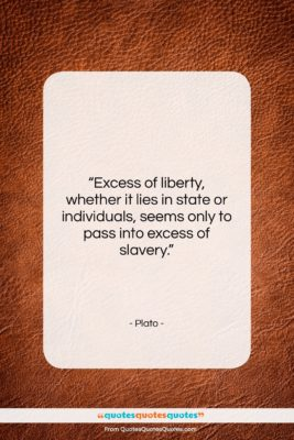 """Plato quote: """"Excess of liberty, whether it lies in…""""- at QuotesQuotesQuotes.com"""