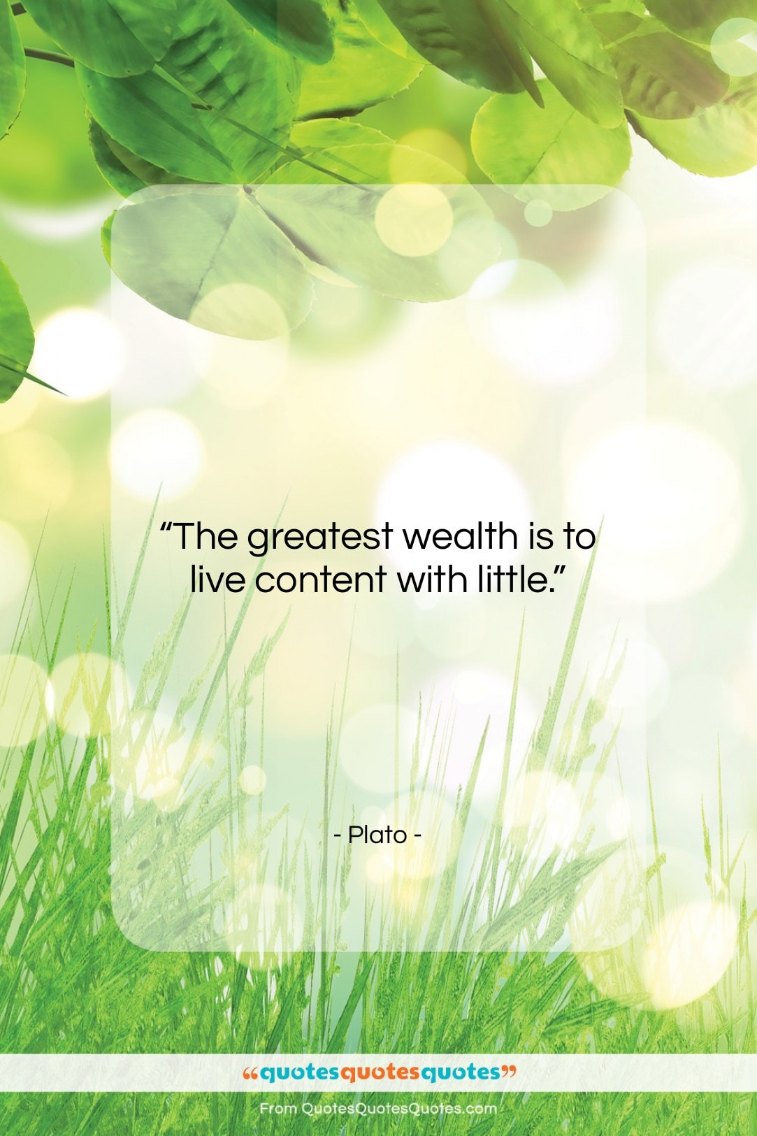 """Plato quote: """"The greatest wealth is to live content…""""- at QuotesQuotesQuotes.com"""