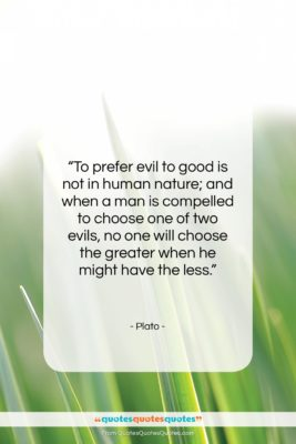 "Plato quote: ""To prefer evil to good is not…""- at QuotesQuotesQuotes.com"