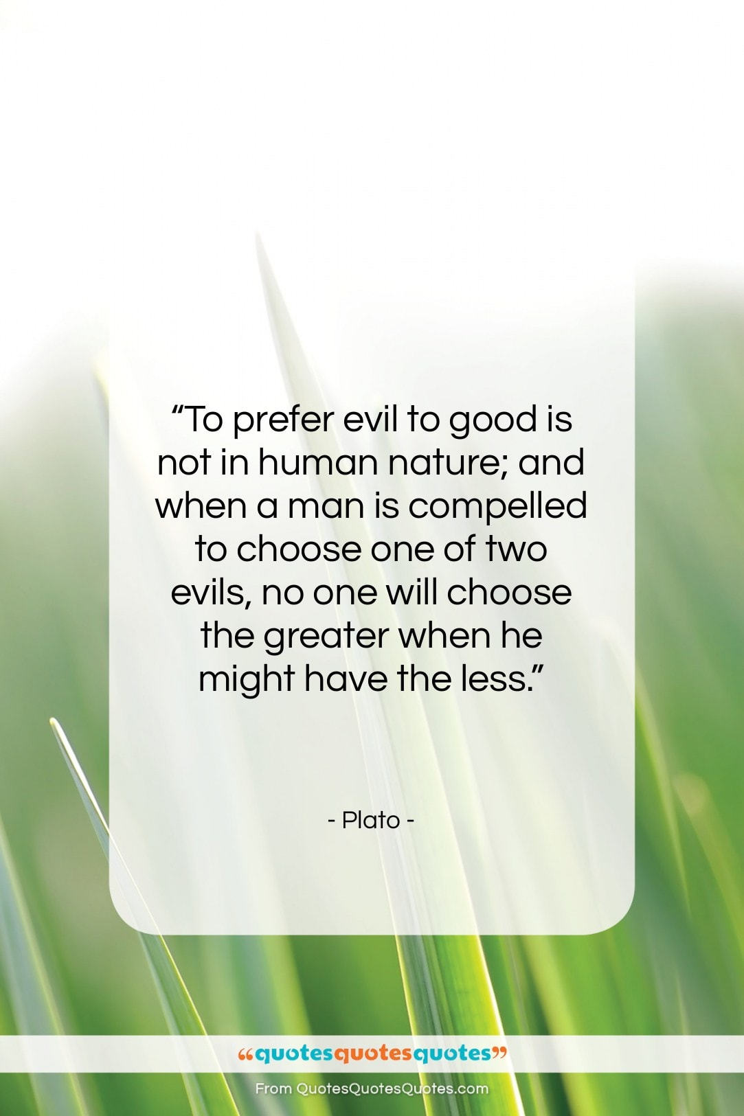 """Plato quote: """"To prefer evil to good is not…""""- at QuotesQuotesQuotes.com"""