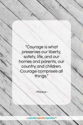"""Plautus quote: """"Courage is what preserves our liberty, safety,…""""- at QuotesQuotesQuotes.com"""