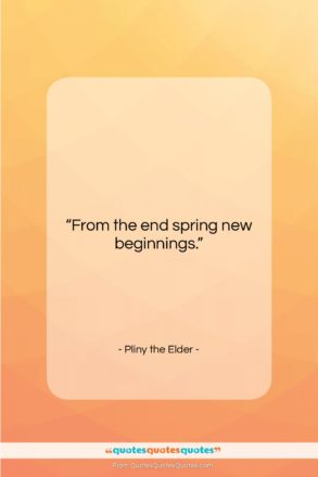 """Pliny the Elder quote: """"From the end spring new beginnings….""""- at QuotesQuotesQuotes.com"""