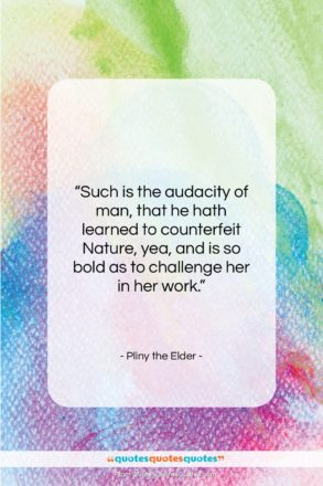 """Pliny the Elder quote: """"Such is the audacity of man, that…""""- at QuotesQuotesQuotes.com"""