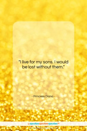 """Princess Diana quote: """"I live for my sons. I would…""""- at QuotesQuotesQuotes.com"""
