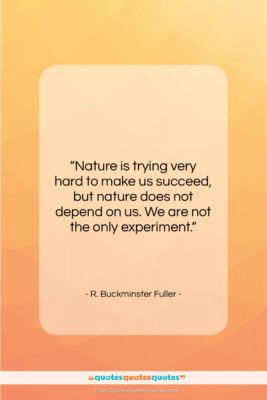 """R. Buckminster Fuller quote: """"Nature is trying very hard to make…""""- at QuotesQuotesQuotes.com"""