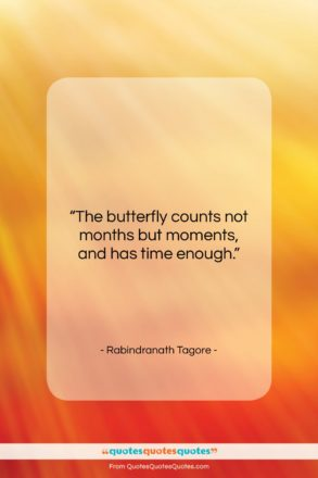 """Rabindranath Tagore quote: """"The butterfly counts not months but moments,…""""- at QuotesQuotesQuotes.com"""