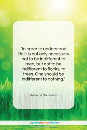 """Remy de Gourmont quote: """"In order to understand life it is…""""- at QuotesQuotesQuotes.com"""