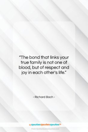 """Richard Bach quote: """"The bond that links your true family…""""- at QuotesQuotesQuotes.com"""