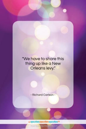 """Richard Carlson quote: """"We have to shore this thing up…""""- at QuotesQuotesQuotes.com"""