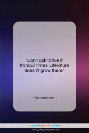 """Rita Mae Brown quote: """"Don't ask to live in tranquil times….""""- at QuotesQuotesQuotes.com"""
