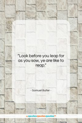 "Samuel Butler quote: ""Look before you leap for as you…""- at QuotesQuotesQuotes.com"