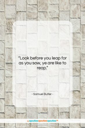 """Samuel Butler quote: """"Look before you leap for as you…""""- at QuotesQuotesQuotes.com"""