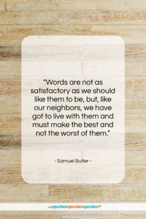 """Samuel Butler quote: """"Words are not as satisfactory as we…""""- at QuotesQuotesQuotes.com"""