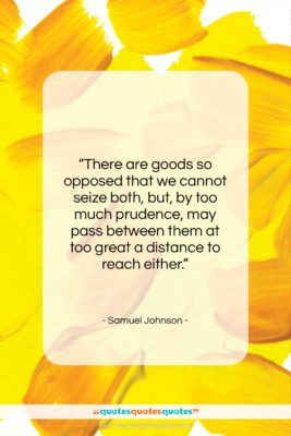 """Samuel Johnson quote: """"There are goods so opposed that we…""""- at QuotesQuotesQuotes.com"""