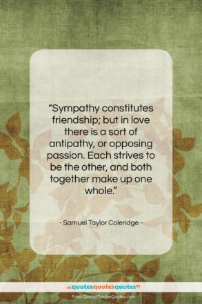 "Samuel Taylor Coleridge quote: ""Sympathy constitutes friendship; but in love there…""- at QuotesQuotesQuotes.com"