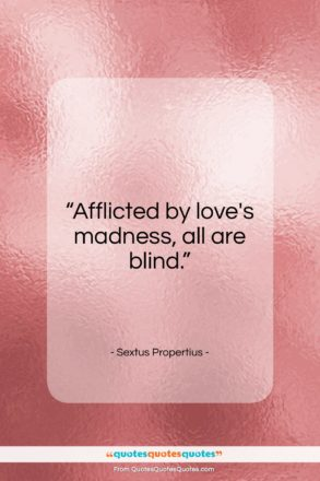 "Sextus Propertius quote: ""Afflicted by love's madness, all are blind.""- at QuotesQuotesQuotes.com"