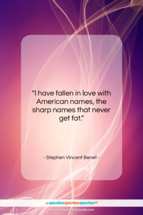 """Stephen Vincent Benet quote: """"I have fallen in love with American…""""- at QuotesQuotesQuotes.com"""