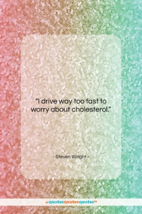 "Steven Wright quote: ""I drive way too fast to worry…""- at QuotesQuotesQuotes.com"